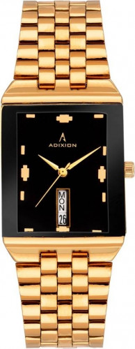 ADIXION 1918YM12 New Stainless Steel Day & Date rectangle Gold watch. Watch