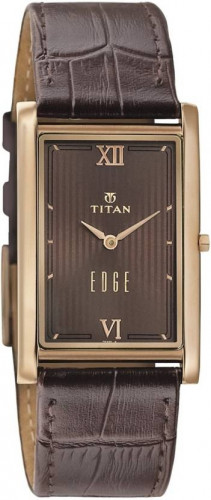 Titan 1598WL02 Men's 'Edge' Quartz Stainless Steel and Leather Watch, Color:Brown (Model: 1598WL02)