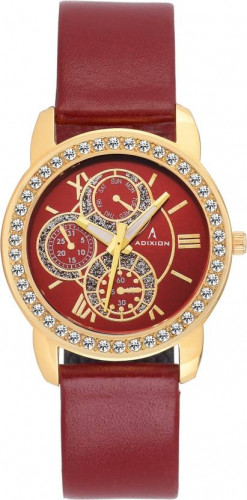 ADIXION 9743YL08 New Series Genuine Leather Watch with Chronograph Pattern Watch