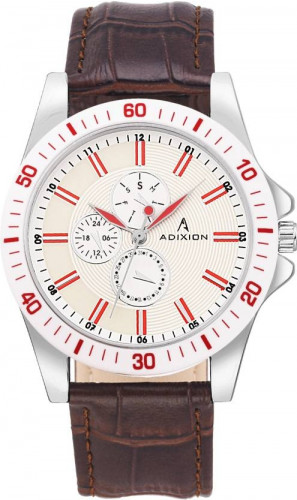 ADIXION 9523SL28A Man Stainless Steel Watch with Genuine Leather Strep Watch