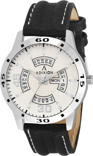 ADIXION 9519SLD02 : New Leather Strep Stainless Steel Day & Date Youth Watch Watch