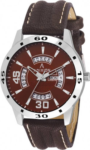 ADIXION 9519SLD05 New Leather Strep Stainless Steel Day & Date Youth Watch Watch