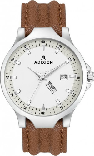 ADIXION 9531SL02 New Leather Strep day & date Stainless Steel Youth Watch Watch