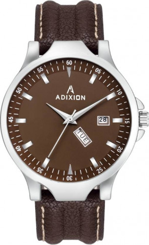 ADIXION 9531SL05 New Leather Strep day & date Stainless Steel Youth Watch Watch