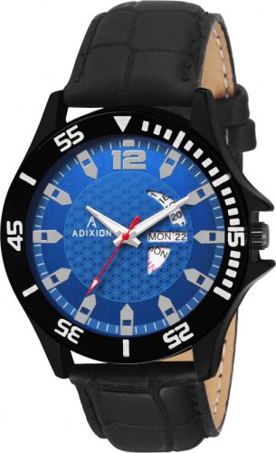 ADIXION 9563SLB4 New day & date Leather Strep Stainless Steel Youth Watch Watch