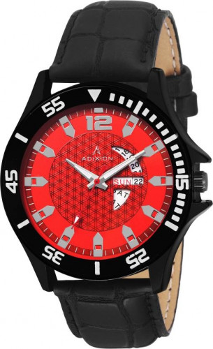 ADIXION 9563SLB8 New day & date Leather Strep Stainless Steel Youth Watch Watch