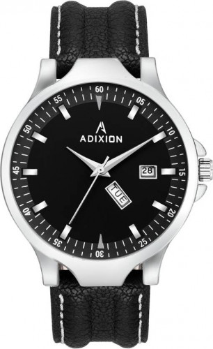 ADIXION 9531SL01 New Leather Strep day & date Stainless Steel Youth Watch Watch
