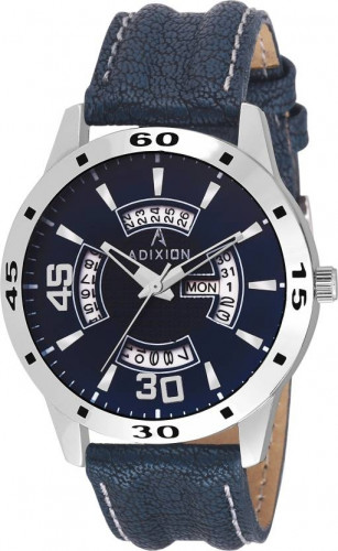 ADIXION 9519SLD04 New Leather Strep Stainless Steel Day & Date Youth Watch Watch