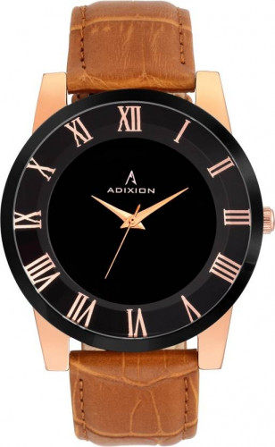 ADIXION 9523YL01 New Stainless Steel Edge Watch with Genuine Leather Strep