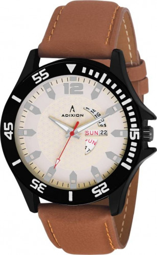 ADIXION 9563SLB2 New day & date Leather Strep Stainless Steel Youth Watch Watch