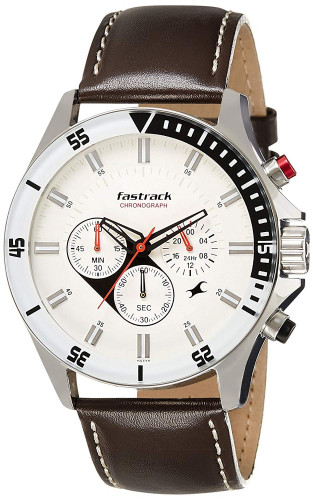 Fastrack 3072SL01 Big Time Analog White Dial Men's Watch