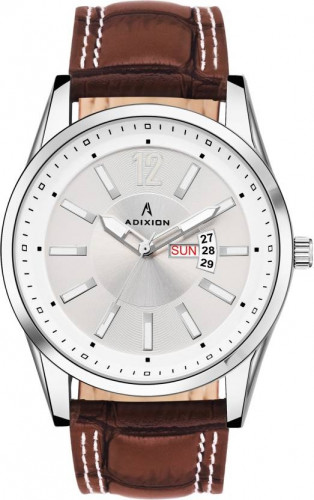 ADIXION 9322SL03 New Leather Strep day & date Stainless Steel Youth Watch Watch