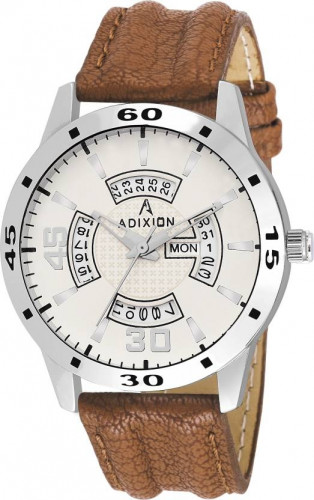 ADIXION 9519SLD25 New Leather Strep Stainless Steel Day & Date Youth Watch Watch