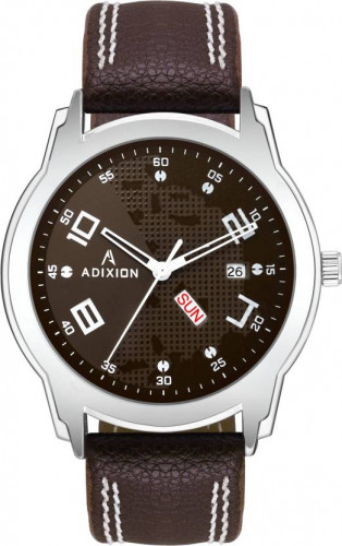 ADIXION 9530SL05 New Leather Strep day & date Stainless Steel Youth Watch Watch