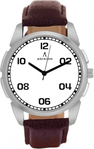 ADIXION 9520SL52 New Leather Strep Stainless Steel Youth Watch Watch