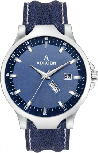 ADIXION 9531SL04 New Leather Strep day & date Stainless Steel Youth Watch Watch