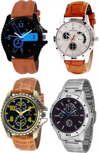 ADIXION 1331339519sl039519glc1nla14sl03sma1 Four Watch Combo Man Stainless Steel Watches with Genuine Leather Strep Watch