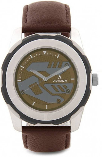 ADIXION 3099SL05 New Stainless Steel watch with Genuine Leather Strep. Watch