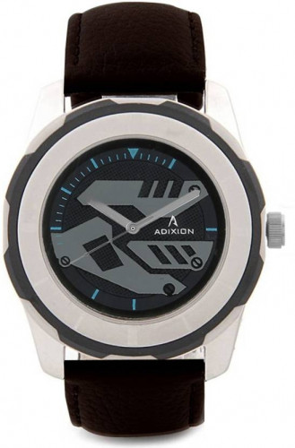 ADIXION 3099SL14 New Stainless Steel watch with Genuine Leather Strep. Watch