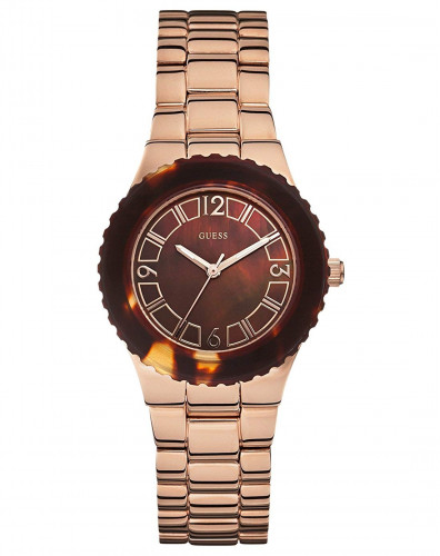 GUESS Analogue Brown Dial Stainless Steel Case Rose Gold Plated Synthetic Sapphire Women's Watch