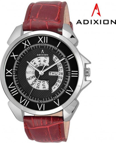 ADIXION 9506SLD1 New Maroon Strap watch with Day and Date Watch