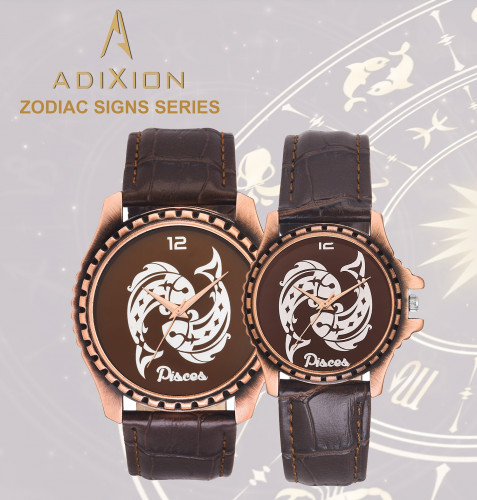 New Zodiac Sign Leather Strep Stainless Steel Watch