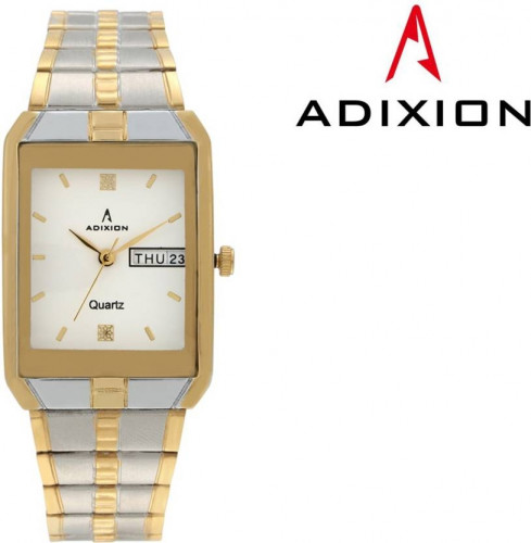 ADIXION 9151BM02 Day And Date 18 K Steel Gold Pleating Igp Watch