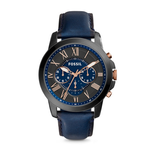 Fossil FS5061 Grant Chronograph Black and Blue Dial Men's Watch