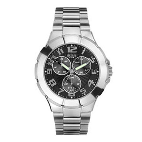 GUESS Gents Silver and Black Dial Bracelet Watch (l90199G3)