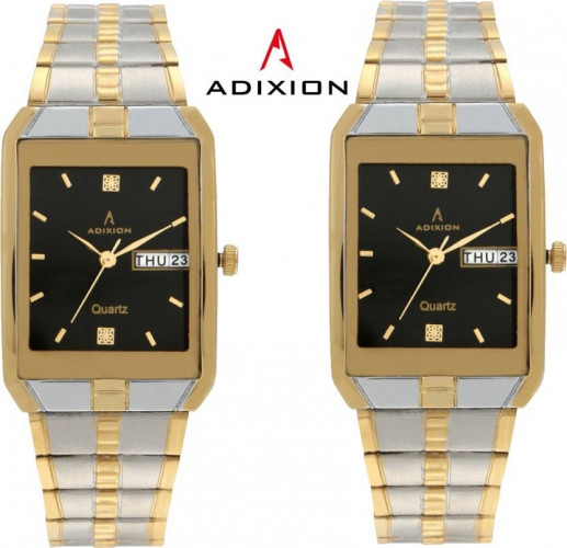 ADIXION AD9151BM0101 DAY AND DATE STEEL GOLD PLEATING WATCH