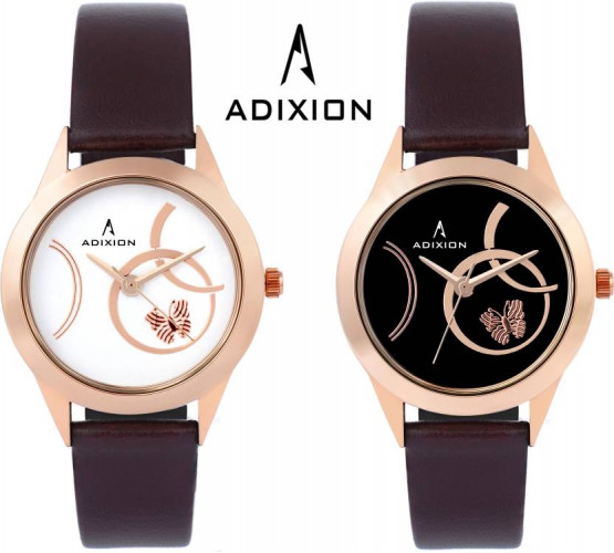 ADIXION AD9403KL01A02 Combo New Rose Gold & Leather Strap Watch