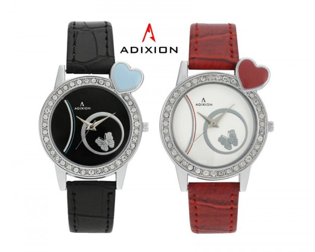 ADIXION Red AD9408SL0128 Black&Rad Leather Strap Watch
