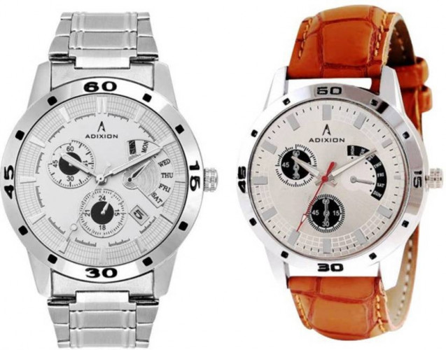 ADIXION 9519SM03SL03 New Chronograph Pattern Combo Stainless Steel & Genuine Leather Youth Wrist Watch Hybrid Watch
