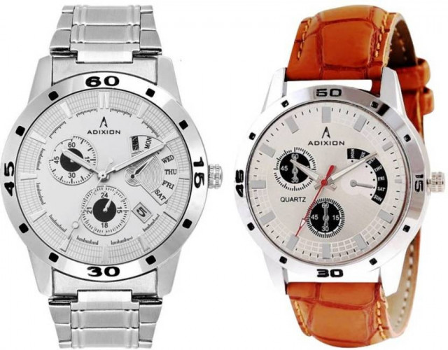 ADIXION 9519SMC3SL03 New Combo Chronograph pattern Steel & Genuine Leather Youth Wrist Watch Hybrid Watch