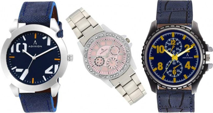 ADIXION 9501941133SL040649 New Combo two Genuine Leather & one Stainless Steel Youth Wrist Watch Watch