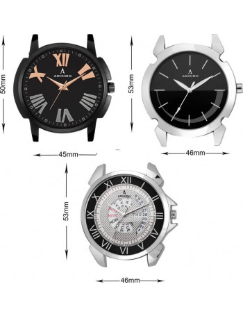 ADIXION 101595069520nla1sld2sla1 Tri Combo Man Stainless Steel Watches with Genuine Leather Strep Watch