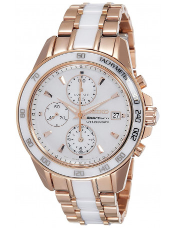 Seiko Sportura Chronograph White Dial Women's Watch