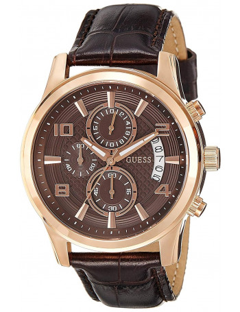 GUESS W0076G4 Men s Chronograph Rose Gold Tone Stainless Steel Case Brown Leather Strap 50m WR