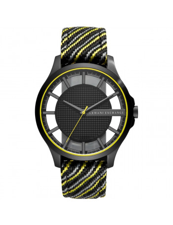 Armani Exchange Men's Black and Yellow Fabric Watch AX2402