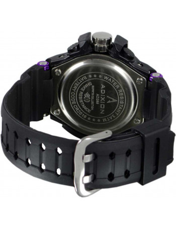ADIXION AD28908 DAY & DATE digital analog Silicon Strep Black Sports Watch