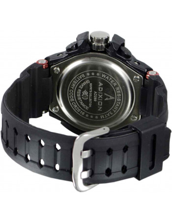 ADIXION AD28904 DAY & DATE digital analog Silicon Strep Black Sports Watch
